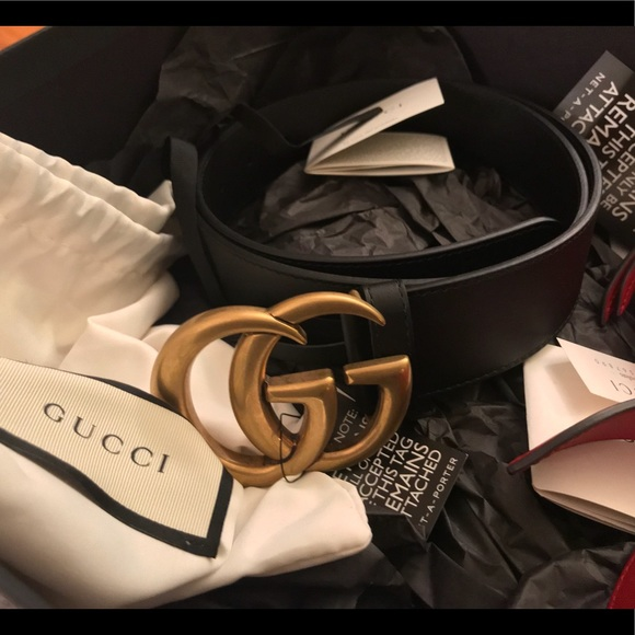 ab5f8a0e3b3 Gucci Leather belt with Double G buckle 90(34)